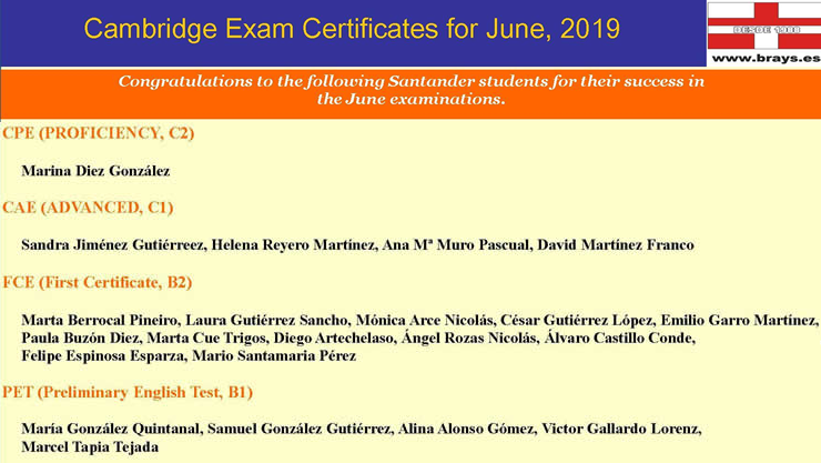 Certificados de Cambridge Junio 2019